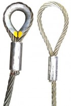 Wire rope machine splice sling with thimble or soft eye